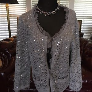 White House Black Market Sequined Gray Cardigan L